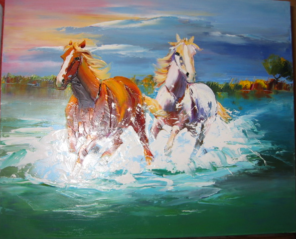 Tableau peinture l huile sur toile de lin technique au couteau artiste pientre - Tableau de cheval ...